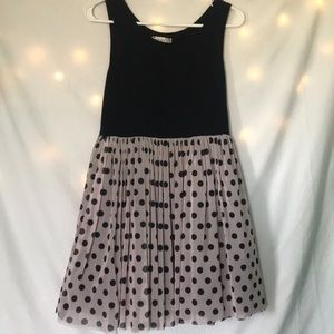 Pink and black polka dot kids dress